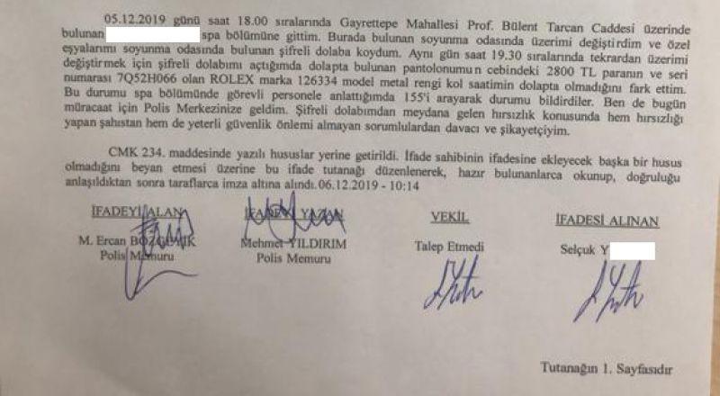 İstanbul'daki 5 yıldızlı otelin SPA'sında hırsızlık skandalı