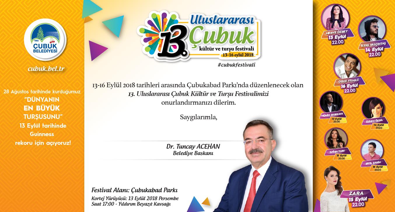 13. Uluslararası Çubuk Kültür ve Turşu Festivali 13 Eylül\'de Başlıyor