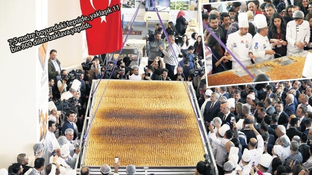 515 kiloluk baklava ile rekor kırıldı