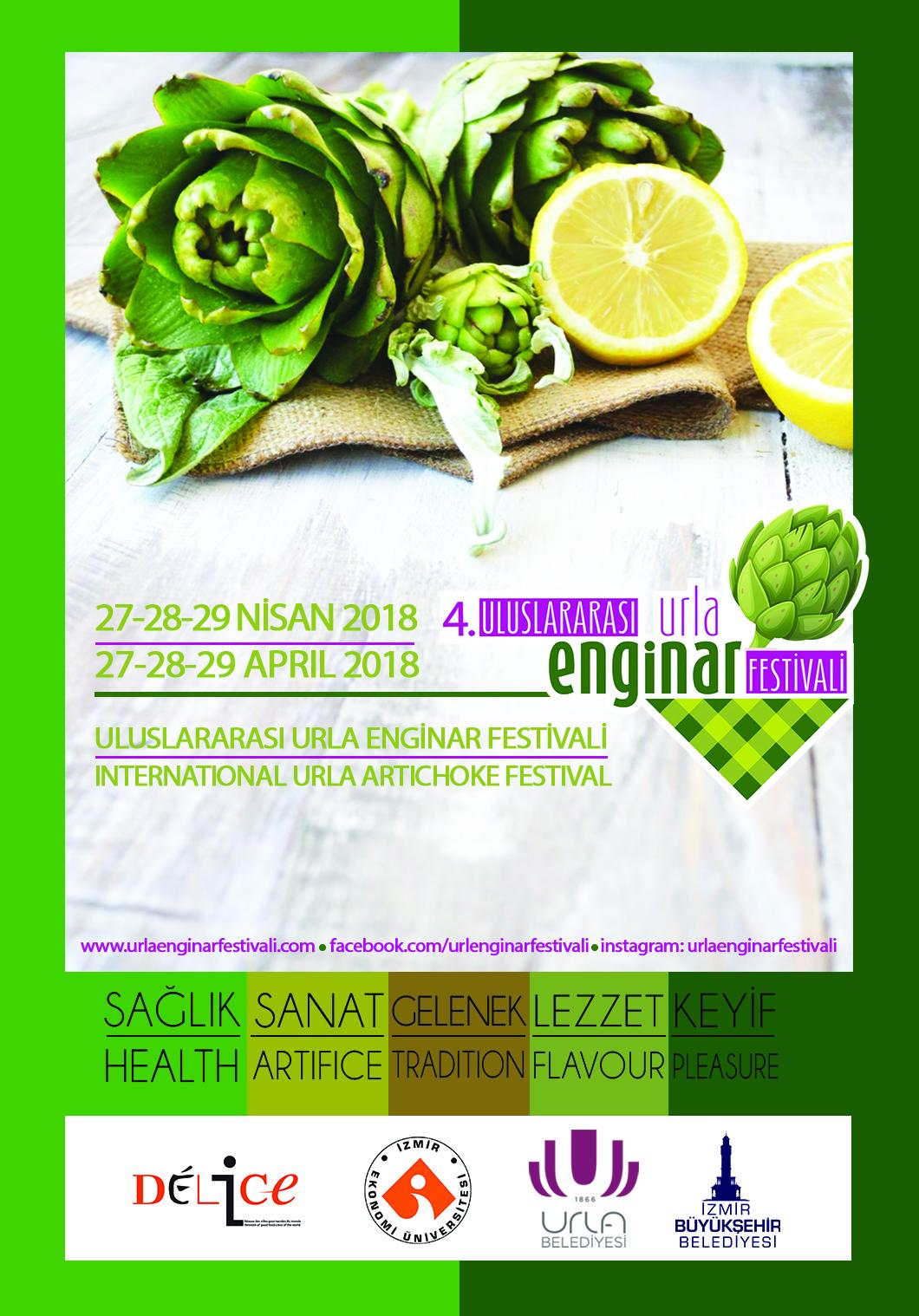 4. Uluslararası Urla Enginar Festivali 27 - 28 - 29 Nisan 2018 tarihlerinde sakız enginarın kalbi Urla\'da.