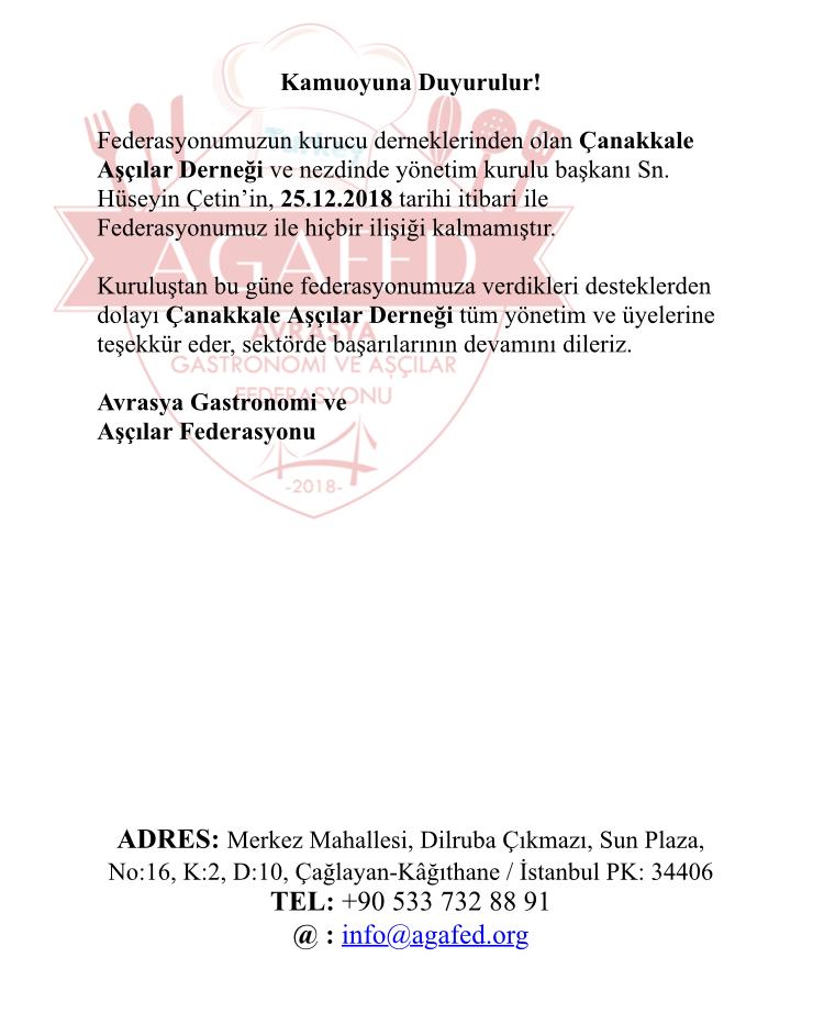 Avrasya Gastronomi ve Aşçılar Federasyonu Basın Bildirisi...