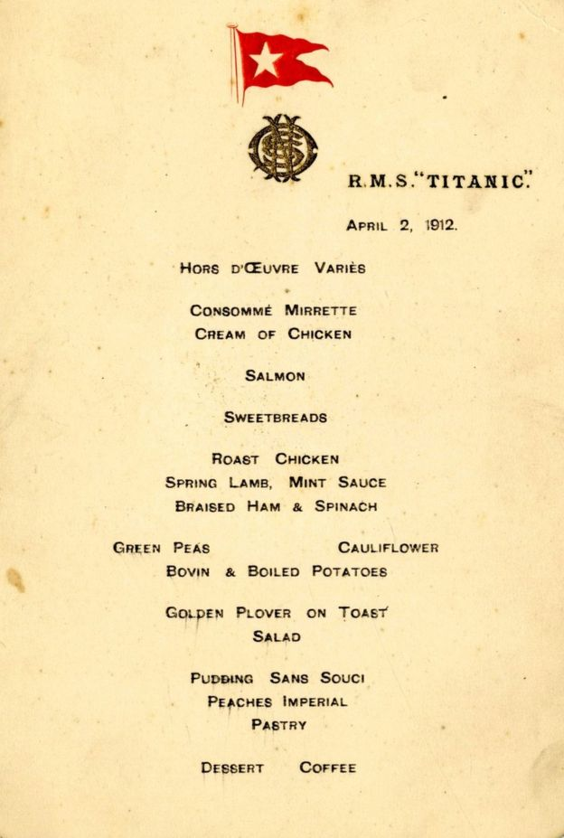 Titanik Yemek Menüsü, Açık Arttırmayla 100 Bin Pound a Satıldı